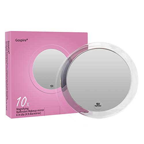 10X Magnifying Mirror 6 Inch with 3 Suction Cups Easy Mounting Gospire Round Pocket Magnified Mirror Used for Precise Makeup Application Eyebrows Tweezing Shaving Blackhead Blemish Removal