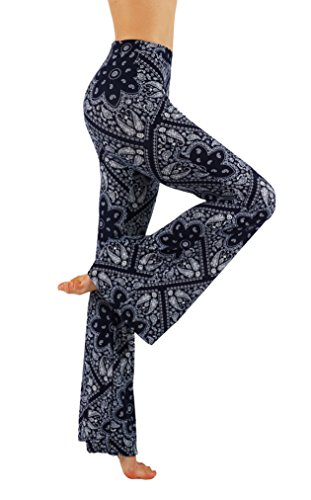 Vesi Star Yoga Bell Bottom Palazzo High Waist Gypsy Ethnic 70s Hippie Printed Pants (M, VS7FP01-17)