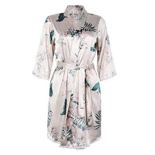 BellisMira Sexy Slip Satin Sleepwear Lace Cami Flower V-Neck Floral Silk Kimono Robe Women ()