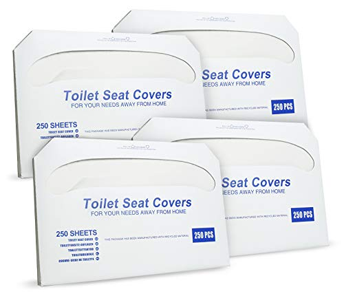 Paper Toilet Seat Covers - Disposable - Half-Fold Toilet Seat Cover Dispensers - White - 4 Pack of 250-14