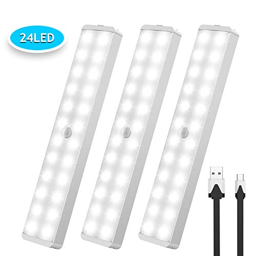 LED Closet Light, CSHID-US 24-LED Wireless Motion Sensor Under Cabinet Lights Portable USB Rechargeable Night lighting for Hallway Stairway Wardrobe Garage (2 Sensor Modes) 3 Pack