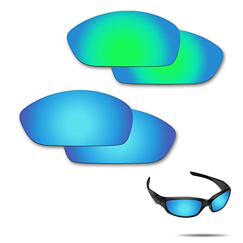 Fiskr Anti-Saltwater Polarized Replacement Lenses for Oakley Straight Jacket 2007 Sunglasses 2 Pairs Packed (Ice Blue & Emerald Green) (Oakley Straight Jacket Lens)