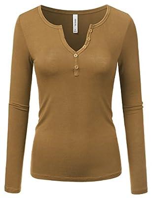 NINEXIS Women's Long Sleeve Basic Henley Deep V-Neck Button Placket T-Shirt
