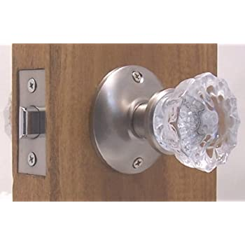 very affordable Fluted Crystal Glass & Brushed Nickel Passage Door ...