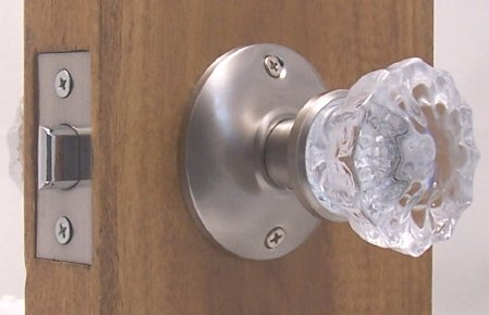 A very affordable Fluted Crystal Glass u0026 Brushed Nickel Passage Door Knob  Sets for Modern Doors+includes Our Original Wood