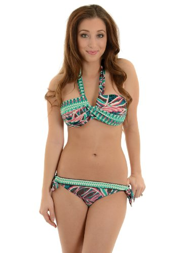 Leilani Women's 2 Piece Halter Swimsuit Set with Tropical and Tribal Print Sizes: 10 ()