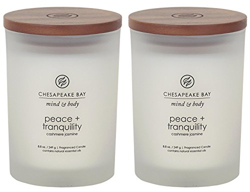 (Chesapeake Bay Candle Scented Candles, Peace + Tranquility (Cashmere Jasmine), Medium (2-Pack))