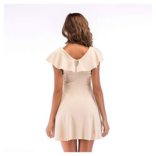Black Vestido de Las Volantes Falda con Isbxn Puro Color Elegante M Apricot Gran Color Size Mujeres en Temperamento de V Cuello oscilación Cintura ZvCxwqUg