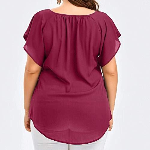 Tee Haut Vintage Tunique Chauve V Blouse Adelina Taille Shirt pissure Dentelle Ete Chemisiers Wine Shirts Grande Uni Cou Large Femme Elgante Mode Manche Souris fvWqRUq5B