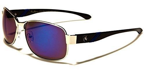 Neuf KHAN MODE HOMMES ovale couleur à reflets métal Lunettes de soleil au volant complet UV400 Protection GRATUIT vibrant Hutt poche argent/Bleu/verres bleus effet miroir