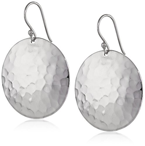 Silver Hammered Disk (Sterling Silver Hammered Disc Drop Earrings)