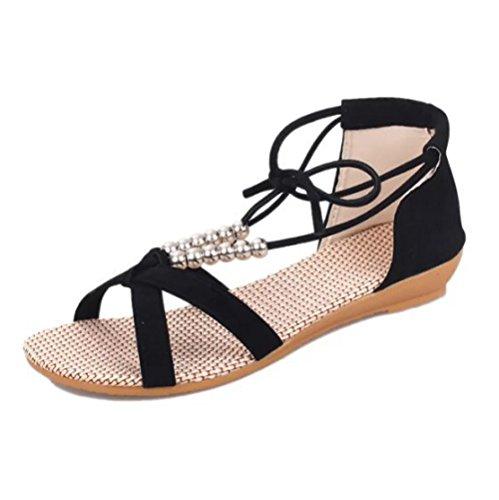 Hope Womens Flat Sandals Summer Peep-toe Roman Sandals Ladies Ankle Strap Sandals Beach Shoes Black 5TBLY