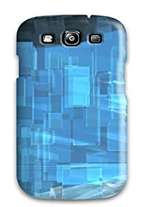 QYHKqkm354LVFid Anti-scratch Case Cover DPatrick Protective Blue Translucent Cubes Case For Galaxy S3