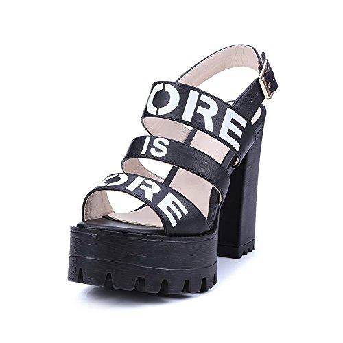 VogueZone009 Women's Open Toe High-Heels Soft Material Assorted Color Buckle Sandals Black 7VrAzL2T