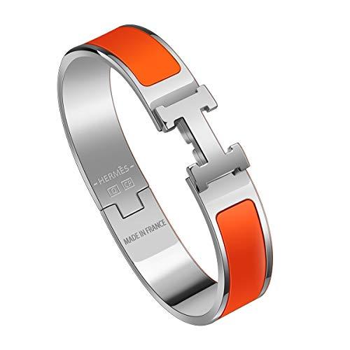GETIEN Best H Buckle Bangle Bracelets for Womens Stainless Steel Enamel Bracelet 12MM (Silver/Orange)
