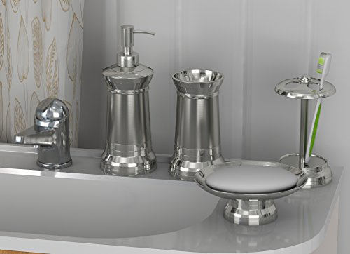 Two Tone Bath Light - nu steel set/4-Soap Dish, TBH, Tumbler & Lotion Pump Light House Set/4 Bath ensembles, Stainless Steel Two Tone Finish-Shiny Brushed Nickel, 4 Piece