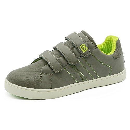 Big Kids Skate Shoes (Snuoen Boy Sneaker Skate Shoes for Kid Big Kid Velcro Designer Checked PU Upper Shoes (Grey))