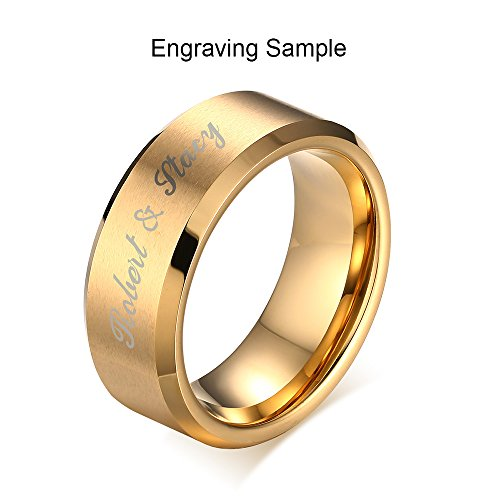 Vnox Free Engraving Personalized Custom 8MM Gold Plated Stainless Steel Plain Band Ring for Men,Size (Engraved Gold Wedding Ring)