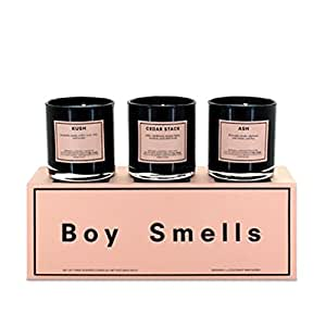Boy Smells Kush, Ash, and Cedar Stack Votive Candle Trio Set, All Natural Beeswax and Coconut Wax Blend with Braided Cotton Wick in a Glossy Black Glass Tumbler, 3 Ounces Each (9 Ounces Total)