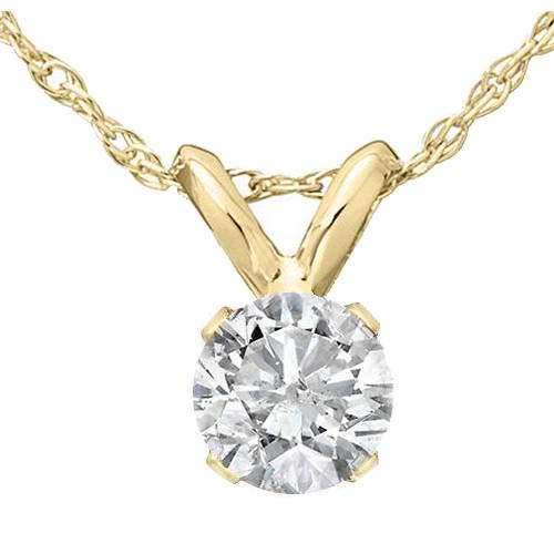 1/3 Ct Solitaire Round Diamond Pendant 14K Yellow Gold w/ 18