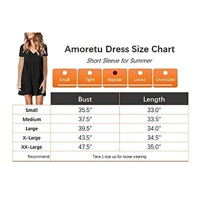 Amoretu Women Summer Tunic Dress V Neck Casual Loose Flowy Swing Shift Dresses at Women's Clothing store