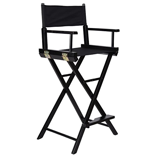 Tangkula Height Makeup Artist Directors Wood Chair (Black)