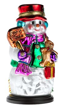 Thomas Pacconi Hand-Painted Glass 14-Inch Snowman Figurine With Wood Base