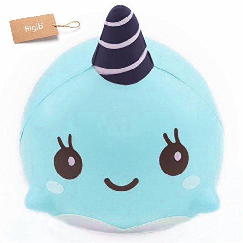 Jumbo Slow Rising Squishies Charms Kawaii Squishies Cream Scented Toys For Kids and Adults (Blue Whale)