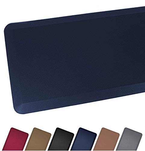 (Anti Fatigue Comfort Floor Mat By Sky Mats - Commercial Grade Quality Perfect for Standup Desks, Kitchens, and Garages - Relieves Foot, Knee, and Back Pain, 20x39 Inch, Dark Blue )