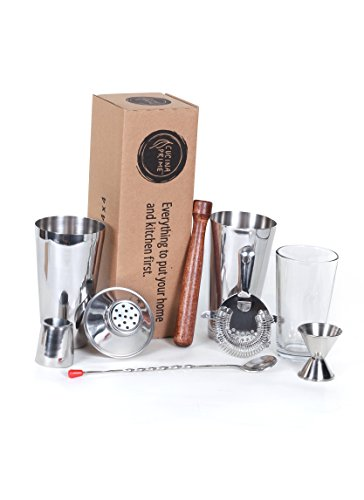 CucinaPrime 13 Piece Stainless Steel Professional Bar Set (2 Cocktail Shakers, Jigger, Speed Opener, Waiters Corkscrew, Strainer, Long Bar Spoon and 6 Black Bottle - 6 Kit Wine Tool Piece