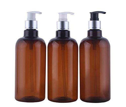 (3Pcs 500ml/16.7oz Empty Refillable PET Plastic Pump Storage Container Bottle Jars With Random Color Pump For Essential Oil Lotion Bath Shower Gel Conditioner Hand Washer and More(Brown))