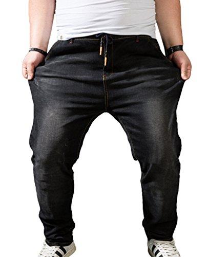 Heheja Denim Noir Straight Loisir Jeans Pantalon Grande Élastique Homme Taille Haute ZwvrZ8