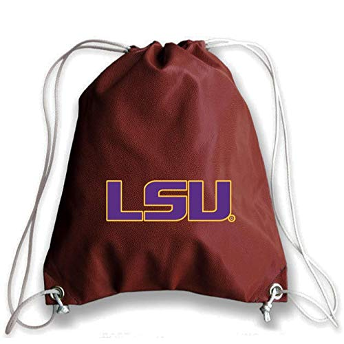 Zumer Sport LSU Tigers Football Leather Drawstring Shoulder Backpack Bag - Made from The Same Exact Materials as a Football - Brown