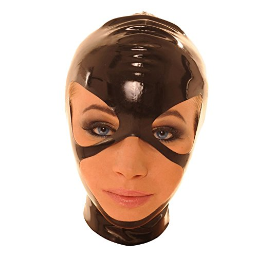 [EXLATEX Rubber Latex Hood with Zipper with Face Opening (Large, Black)] (Fancy Dress Hollywood Themed Costumes)