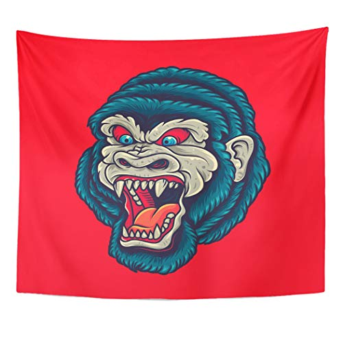 Emvency Decor Wall Tapestry Traditional Vintage Gorilla King Kong Head Old School Tattoo Graphic Face Wall Hanging Picnic for Bedroom Living Room Dorm 60x50 Inches