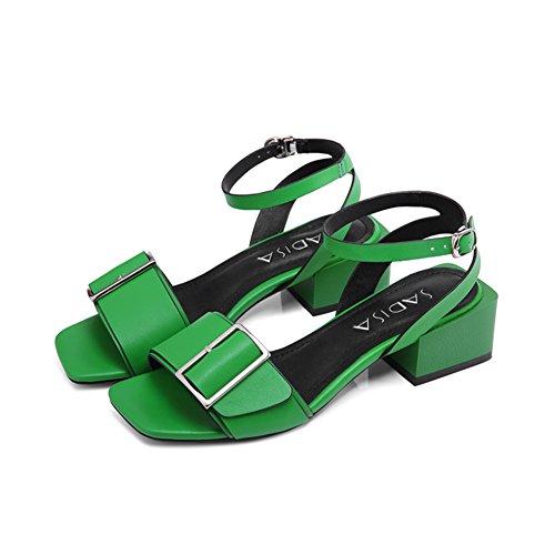 Verano europa y los estados unidos viento tacones/Sandalias abiertas de cuero/Palabra cinturón hebilla con zapatos de cuero B
