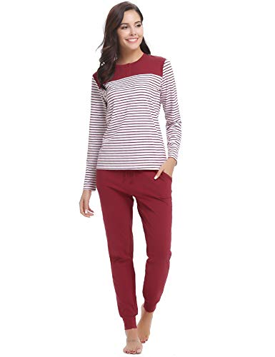 Hawiton Womens Cotton Long Sleeve Pajama Pants Set