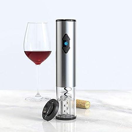Bioaley Abrebotellas eléctrico sacacorchos con batería de acero inoxidable compacto botella apertura herramienta con cortador de hoja