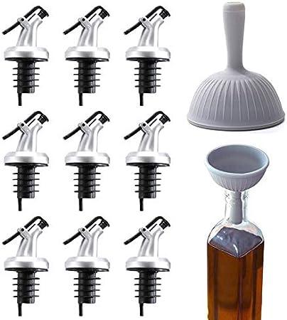 MHwan Vertidores de Licor, vertedor Aceite, Tapón de Botella de Aceite a presión, vertedor cónico de plástico con Tapas Antipolvo para Botellas de vinagre de Aceite de Oliva, 11 Piezas, 8,5 x 3 cm