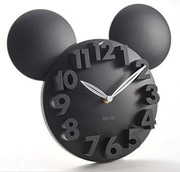 LTOOD Diseñador Moderno Mickey Mouse 3D Reloj de Pared Imán de Nevera en Blanco Reloj de Pared Digital Reloj Autoadhesivo Reloj de Cocina para niños, ...