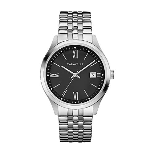 Caravelle Black Dial - Caravelle Men's Quartz Watch with Stainless-Steel Strap, Silver, 20 (Model: 43B158)