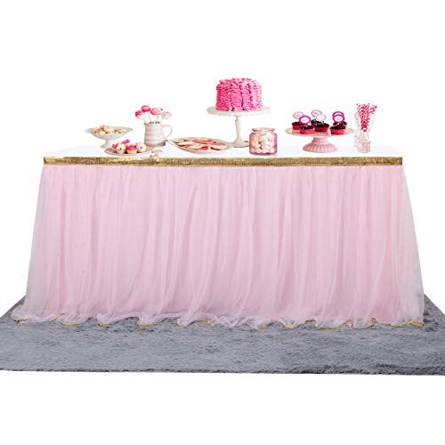 6 ft Pink Table Skirt Gold Trim Mesh Tutu Tulle Table Skirt for Rectangle or Round Tables Baby Shower Wedding Birthday Party Decorations (Unicorn party decoration)