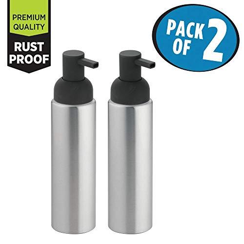 mDesign Modern Aluminum Metal Refillable Soap Dispenser Pump Bottle for Bathroom Vanity Countertop, Kitchen Sink - Holds Dish Soap, Hand Sanitizer, Essential Oils - Rust Free, 2 Pack - Brushed/Gray ()