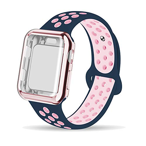 INTENY Compatible for Apple Watch Band 38mm with Case, Soft Silicone Sport Wristband with Apple Watch Screen Protector Compatible for iWatch Series 1,2,3,4, 38mm M/L, Midnightblue Lightpink