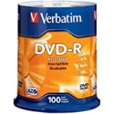 Verbatim 4.7 GB up to 16x Branded Recordable Disc DVD-R 100-Disc Spindle 95102
