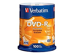 Verbatim DVD-R 4.7GB 16x AZO Recordable Media Disc - 100 Disc Spindle