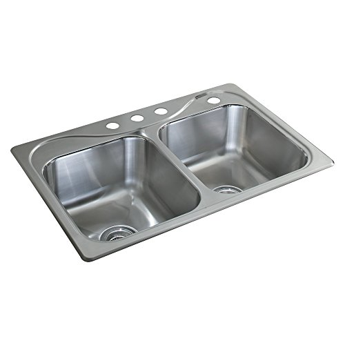 STERLING 11850-4-NA Southhaven 33-inch by 22-inch Top-mount Double Equal Bowl Kitchen Sink, Stainless Steel (Kohler Bowl Self Double Rimming)