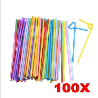 Colorful Extra Long Flexible Bendy Party Disposable Drinking Straws, 100 Pieces - Costume Rental San Francisco