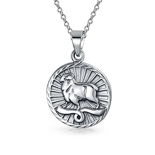 Bling Jewelry Large Aries Zodiac Medallion Pendant Sterling Silver Necklace 18 - Pendant Large Zodiac