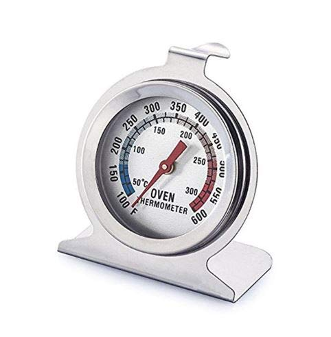 Noondl Oven Thermometer for Fan Oven Gas Electric Round Oven Displays Celcius Farenhiet Readings High Heat Resistant Glass Measures up to 310 Degrees Heavy Duty Stainless Steel Body
